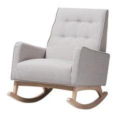 Marlena Mid-Century Grayish Beige Fabric, Whitewash Wood Rocking Chair