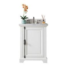 "Providence 26"" Single Vanity Cottage White, 3CM Charcoal Soapstone Quartz"