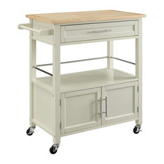 Ktichen Island Cart, Storage Drawer and Bottom Cabinet, Bone White