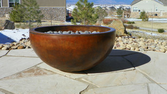 Concrete fire pits and fireplace surrounds