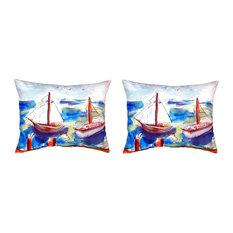 Pair of Betsy Drake Two Sailboats No Cord Pillows 16 Inch X 20 Inch