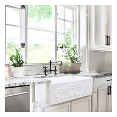 Nantucket Sinks 30-Inch Farmhouse Fireclay Sink with Filigree Apron
