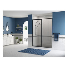 "Legend Framed Hinge Swing Shower Door, Inline Panel, Matte Black, 58""x69"""