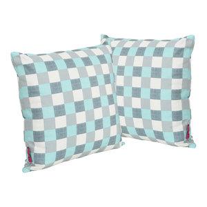 GDF Studio Lathan Indoor Square Throw Pillow, Blue/White Plaid, Set of 2