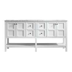 "Florence 72"" Double Vanity, Carrara White Marble Top, White, Without Mirror"