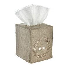 Natural Linen Tissue Box Cover, Napoleon Bee Wreath