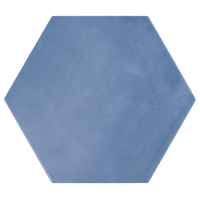 "Eclipse 8"" Hex Porcelain Matte Tile Collection, Blue"