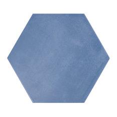 """Eclipse 8"""" Hex Porcelain Matte Tile Collection, Blue"""