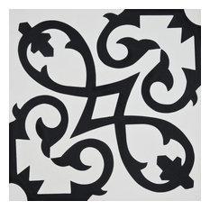 """8""""x8"""" Agadir Handmade Cement Tile, White/Black, Set of 12"""
