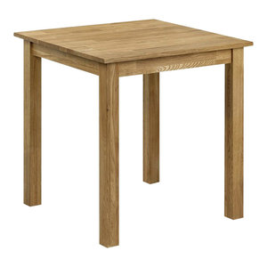 Square Dining Table, Oak Finished Solid Wood, Simple Traditional Design