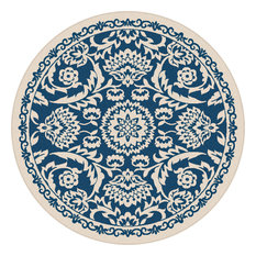 Tayse Rugs Basile Fl Navy Round Easy Care Indoor Outdoor Area Rug