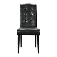 Parsons Chair Black Tufted Leather