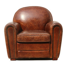 Pasargad Home - Pasargad Genuine Leather Paris Club Chair - Armchairs and Accent Chairs