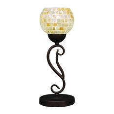 "Olde Iron Mini Table Lamp Bronze Finish W/6"" Mystic Seashell Glass (44-BRZ-405)"