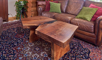 Unique coffee table from Walnut live edge slab