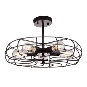 Oil Rubbed Bronze Barn Metal Fan Style Ceiling lighting, 5 Lights