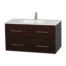 "42"" Single Bathroom Vanity in Espresso, Stone Countertop, Undermount Sink"