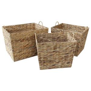 Water Hyacinth Rectangular Tapered Storage Basket , Set of 3