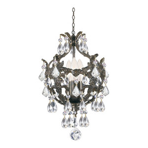 Crystorama Legacy 3 Light Clear Spectra Crystal Bronze Mini Chandelier