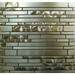 Tilesbay - Interlocking Stainless Steel Mosaic Stainless Steel Tile, 10 Sq. ft. - The unique staggered pattern results in a stunning modern effect .This tile is ideal for steel back splashes, accent walls, fireplaces and more. The tiles in this sheet are mounted on a nylon mesh which allows for an easy installation.