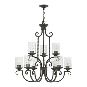 Hinkley Casa Chandelier Large Two Tier, Olde Black With Clear Seedy Glass