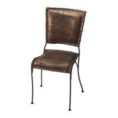 Maverick Iron & Leather Side Chair - Dark Brown