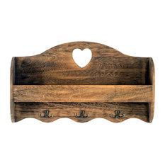 Heart Coat Rack With Shelf, Brown