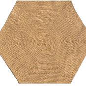 Handwoven and Braided Hexagon Jute Rug, Beige, Beige, 6', Handwoven, Star