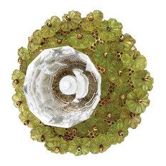 Glass Flower Bead Knob, Green