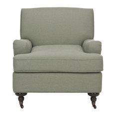 Chloe Club Chair, Sea Mist Blue, Java, Black, Fabric, Without Nail Head