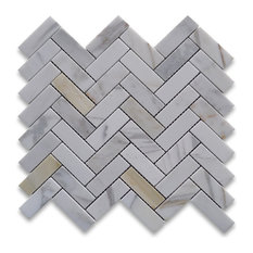 "12""x12.75"" Calacatta Gold Herringbone Mosaic Tile Polished, Chip Size: 1""x3"""