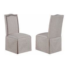 Side Chairs With Skirt, Beige, Set of 2