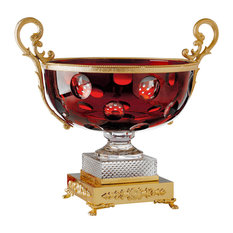 Crystal Glass Fontainebleau Bowl With Gold Handles, Red