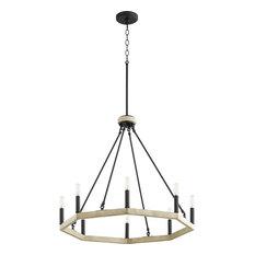 Quorum Alpine 8-Light Chandelier 6189-8-69, Noir W/ Driftwood Finish