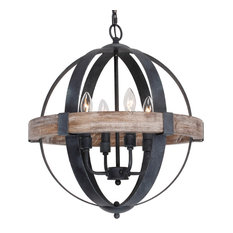 Castello 4-Light Wood Chandelier, Brown