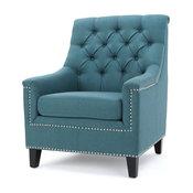 GDF Studio Ailsa Fabric Tufted Club Chair, Teal
