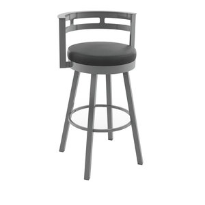 Render Swivel Metal Stool, Gloss Gray/Black, Counter Height