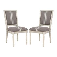 Buchanan Rect Side Chair, Set of 2, Gray/Beige