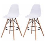 brawbuy - High Back Modern Dining Chairs , Armless Accent Leisure Chair, Set of 2, White - This Simple Style Dining Side Chair serves the purpose of providing seating comfort with a beautiful design. It has strong solid wooden legs. The ergonomically designed back andseat area perfectly fits your body curve. You will feel ultra comfort and relaxation sitting on it. This beautifully simple design dining chair can easily match with any décor in your home or cafe or any other places.