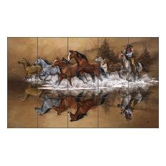 Sorenson Western Horses Ceramic Tile Mural Backsplash