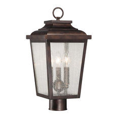 3-Light Post Mount, Chelesa Bronze With Clear Seeded Glass