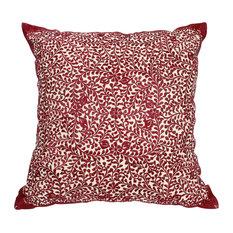 Moroccan Cushion Square Cover Burgundy Rabat Silk Embroidery, 60x60 cm
