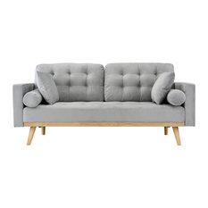 Modern Mid Century 2-Seater Tufted Velvet Sofa With Wooden Legs, Light Gray
