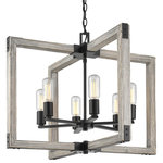 Golden Lighting - Lowell 6-Light Chandelier, Black - Simple and geometric  Lowell is rustic style in a modern form. Crafted of genuine cedar wood  the lightly distressed solid wood frames are washed in a soft gray for a casual  coastal feel. The dark matte black of the exposed sockets  joints  and hardware lends an industrial influence to the design  providing dramatic contrast to the light tone of the natural wood. This 6-light chandelier creates a stylish focal point and warm ambient lighting perfect for intimate living and dining areas or task lighting.