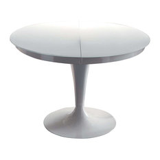 ELISE Circular Dining Extendable Table With White Mark-Less Tempered Glass Top
