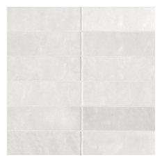 "Cloe 2.5""x8"" Artisan Ceramic Subway Tile, White"