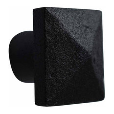 Cabinet Knob Square Black Iron 1 1/4""