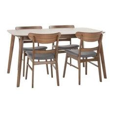 "Helen Mid-Century Modern 5 Piece Dining Set with 60"" Rectangular Table"