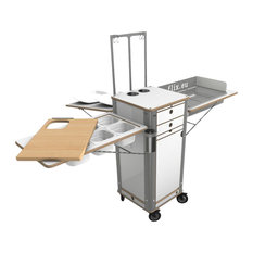 Live Moving Kitchen, Charcoal Grill With 4 Wheels, Pearl White