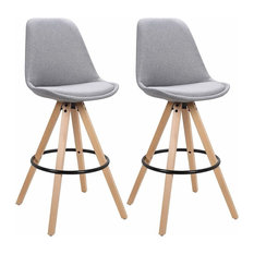 Set of 2 Bar Stools, Synthetic Leather, Wooden Legs and Steel Footrest, Light Gr